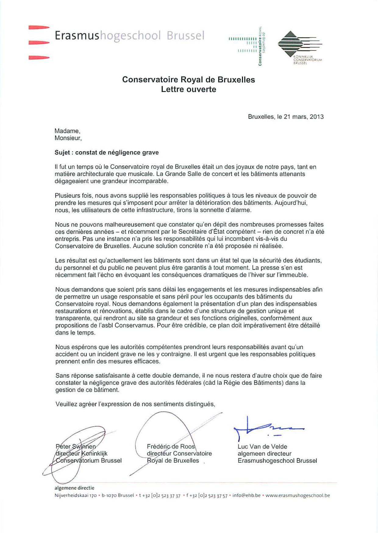 Conservatoire lettre ouverte